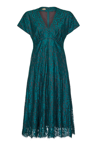 Valeria dress In emerald flower lace - front mannequin shot