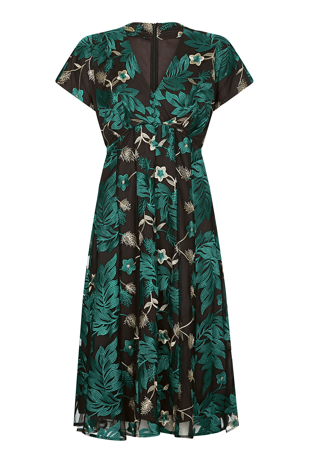 Valeria dress in emerald embroidered pine lace - front mannequin shot