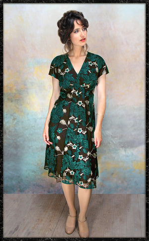 Valeria dress in emerald embroidered pine lace - front model shot