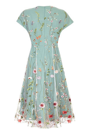 Nancy Mac Valeria dress in meadow-flower embroidered lace - mannequin back