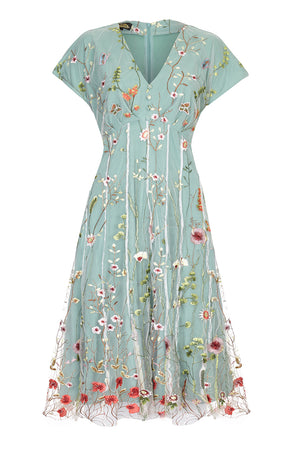 Nancy Mac Valeria dress in meadow-flower embroidered lace - mannequin front