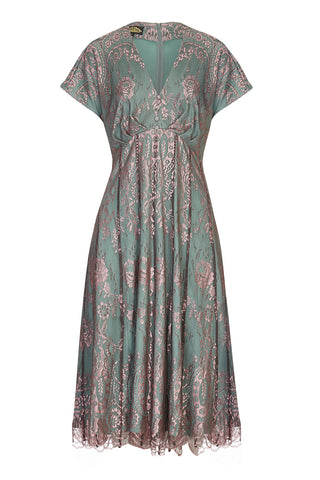 Nancy Mac Valeria dress in moth and pink lace - mannequin front