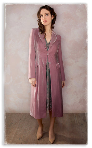 Nancy Mac Valeria dress in moth and pink lace with Vivienne coat in sweet pea silk velvet