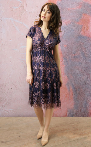 Valeria dress in pearl pink and navy lace