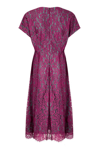Valeria dress in rose flower lace