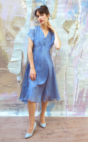 Chic silk organza day dress in a beautiful shade of Periwinkle blue