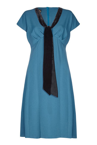 Nancy Mac Vanessa vintage style day dress in petrol blue moss crepe - mannequin