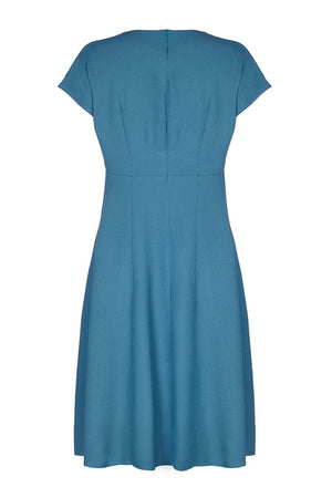 Nancy Mac Vanessa vintage style day dress in petrol blue moss crepe - mannequin back