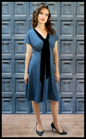 Nancy Mac Vanessa vintage style day dress in petrol blue moss crepe
