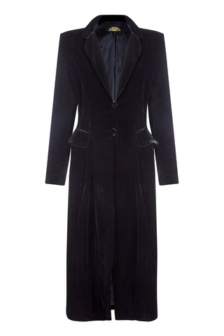 Vivienne coat in jet black silk velvet