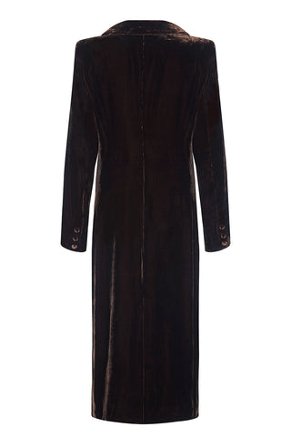 Vivienne coat in chocolate silk velvet - mannequin back