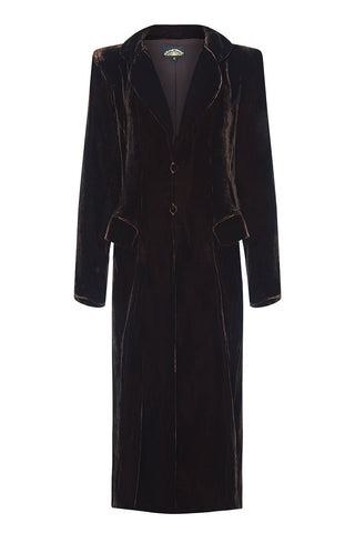 Vivienne coat in chocolate silk velvet - mannequin front