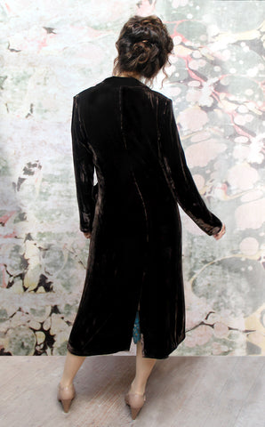 Vivienne coat in chocolate silk velvet - model back