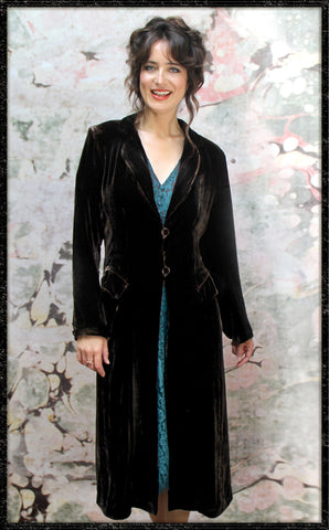 Vivienne coat in chocolate silk velvet - model front
