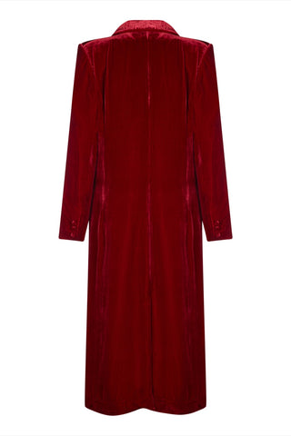 Vivienne coat in deep red silk velvet - back mannequin