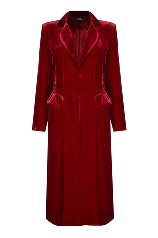 Vivienne coat in deep red silk velvet - front mannequin