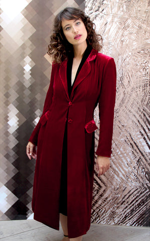 Vivienne coat in deep red silk velvet - model shot