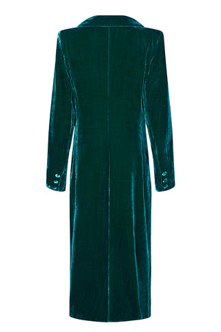 Vivienne coat in peacock silk velvet - mannequin back