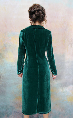 Vivienne coat in peacock silk velvet - model back