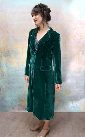 Vivienne coat in peacock silk velvet - model front