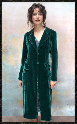 Vivienne coat in peacock silk velvet - model front framed