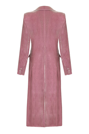 Nancy Mac Vivienne coat in sweet pea silk velvet - mannequin back