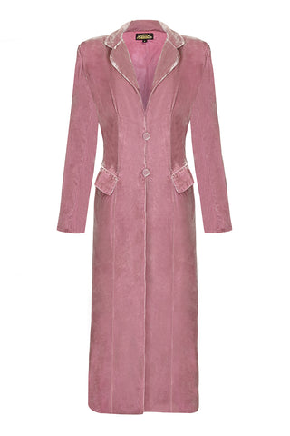 Nancy Mac Vivienne coat in sweet pea silk velvet - mannequin front