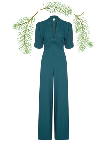 Sable jumpsuit in emerald moss crepe