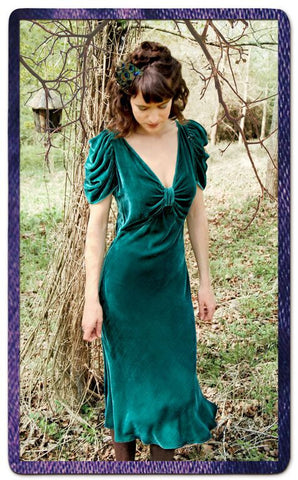 Cassandra dress in peacock silk velvet