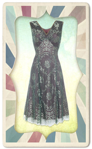Kristen dress in reef and teal lace - framed mannequin shot