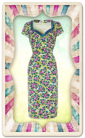 Kelly dress in Rosetti print silk cotton - framed mannequin shot