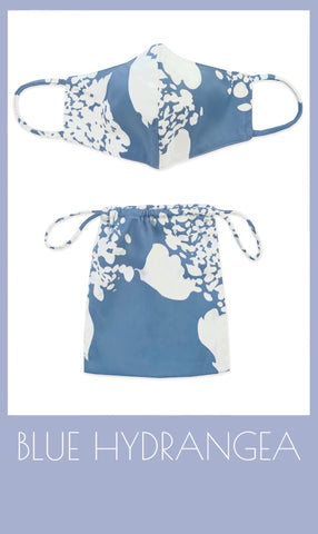 Periwinkle blue Hydrangea print crepe mask