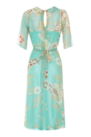 Mae dress in aqua rose garden silk georgette