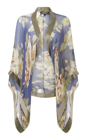 Shrug in bluebell rose garden print silk georgette