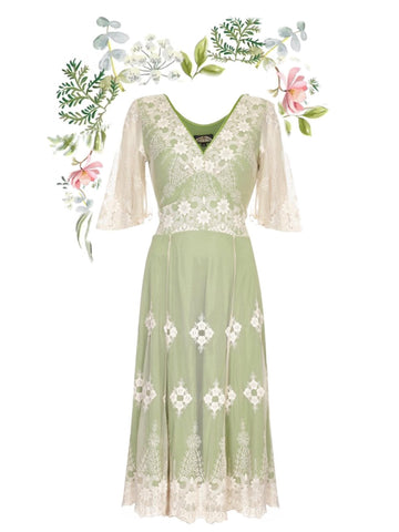 Cathleen dress in ivory and green embroidered lace