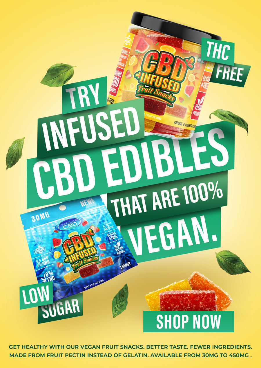 Experience CBD | Try Infused CBD Edibles that are 100% vegan. THC FREE. 30MG THROUGH 450MG CBD