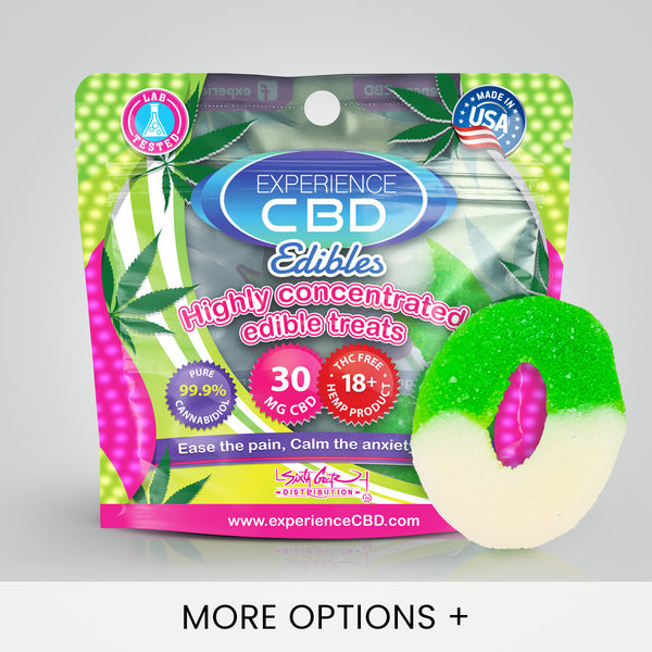 Experience CBD | CBD Edibles | CBD Gummies - Sour Apple Rings - 30mg