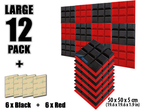 New 12 pcs Black and Red Bundle Bevel Grid Type Acoustic Panels Sound Absorption Studio Soundproof Foam 50 X 50 cm (19.6 X 19.6 X in) KK1046