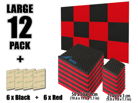 New 12 Pcs Black and Red Bundle Egg Crate Acoustic Tile Panels Sound Absorption Studio Soundproof Foam 50 X 50 X 3 cm (19.6 X 19.6 X 1.1 in) or 25 X 25 X 3 cm (9.8 X 9.8 X 1.1 in) KK1052