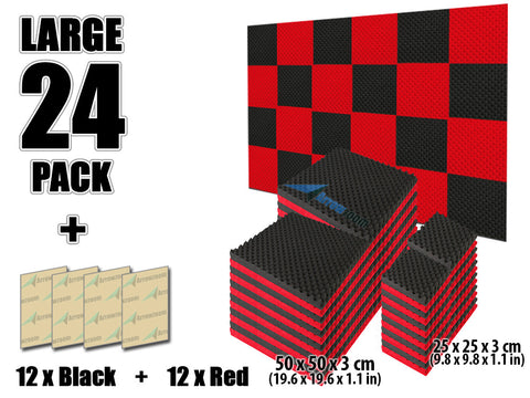 New 24 Pcs Black and Red Bundle Egg Crate Acoustic Tile Panels Sound Absorption Studio Soundproof Foam 50 X 50 X 3 cm (19.6 X 19.6 X 1.1 in) or 25 X 25 X 3 cm (9.8 X 9.8 X 1.1 in) KK1052