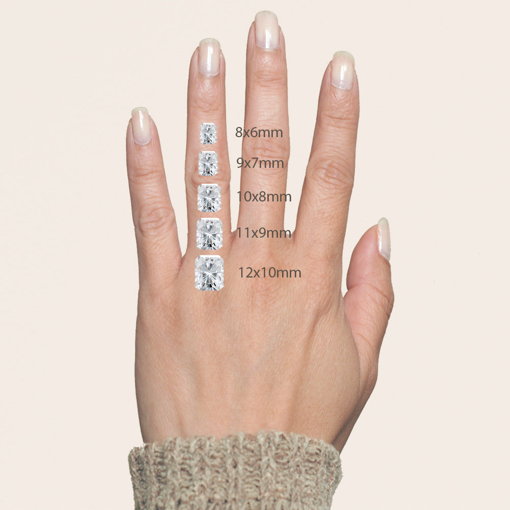 Radiant gemstone sizes on your hand for reference