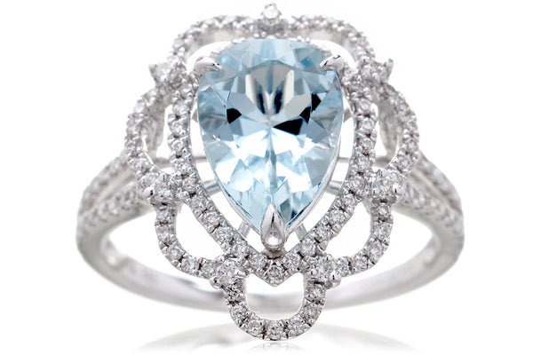 The Anastasia Pear Aquamarine