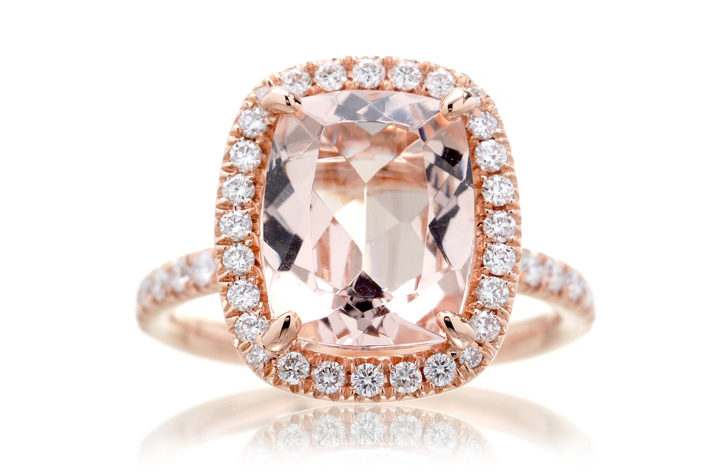 Morganite ring 10x8 cushion pavé halo diamond drenched engagement band rose gold