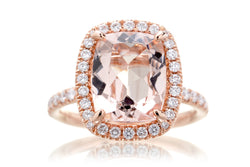 Cushion Morganite Ring | The Drenched Morganite Engagement Ring In Rose Gold