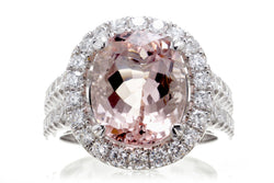 Spectacular Woman Pink Morganite Ring | The Lydia Oval