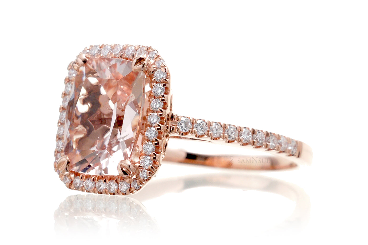 Morganite 11x9 cushion halo diamond solitaire engagement ring 14k rose gold