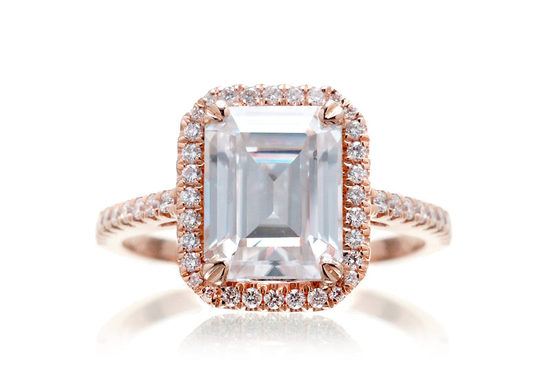 Emerald Cut Moissanite With Diamond Halo Ring | The Signature In Rose Gold
