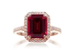 Emerald Cut Chatham Ruby With Diamond Halo Engagement Ring | The Signature Ring In Rose Gold