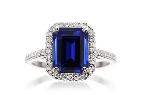 The Signature Emerald Cut Chatham Blue Sapphire