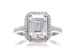 Emerald Cut Moissanite With Diamond Halo Ring | The Signature In White Gold